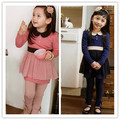 2013 spring female child long-sleeve dress skirt q3018