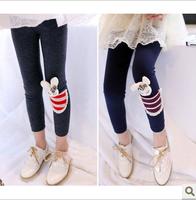 2013 girls clothing child legging rabbit pocket pencil skinny pants k3003