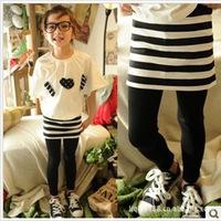 2013 spring female child stripe faux two piece culottes kid's children's skirt pants k3052