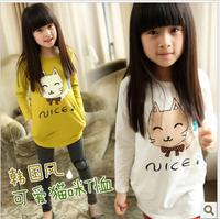 2013 spring girls clothing little cat print long design t-shirt basic s3003 long-sleeve shirt