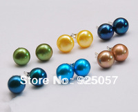 6Sets 8-8.5mm Multicolor Cultured Pearl Stud Earrings AAA Fashion jewelry