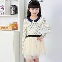 2013 female child spring female child tulle dress one-piece dress long-sleeve dress princess polka dot puff skirt