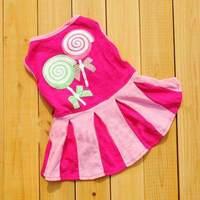 HOT Puppy Apparel Small Pet Dog Clothes Pet Dress Vest Type Pink XS S M L #9414