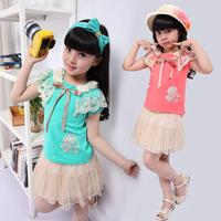Children's clothing 2013 summer female child skirt tulle dress set princess skirt child twinset