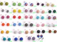 Min Order $8,YUZE JEWELLRY Shamballa Earring 10mm Violet SZ Crystal Disco Ball Silver Stud FWERQ9874