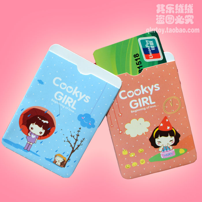Beautiful small gift cartoon double faced clip card holder bus card sets(China (Mainland))