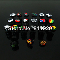 Free Shipping illusion cheaters 200pcs 1.2*6*10/10mm mixed 20 logos print black acrylic fake plugs