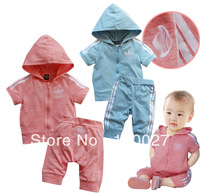 2014 baby summer clothes fashion quality sport clothing set casual suits 3pcs/lot wholesale kids cotton pullover + shorts wear