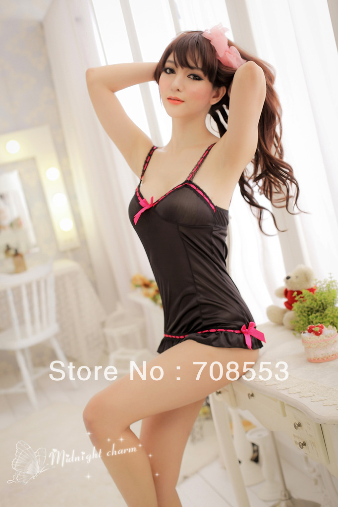 sexy lingerie black silk lace red dress+g string set sleepwear costume sexy kimono underwear uniform lingeries(China (Mainland))
