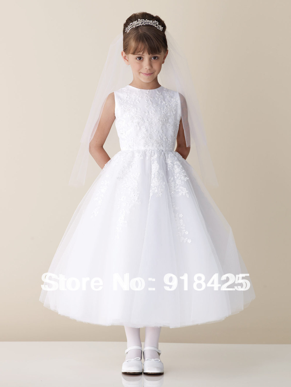 Free Shipping Tea Length Appliques Tulle Lace White Flower Girls Wedding Dress with Veil FN118(China (Mainland))