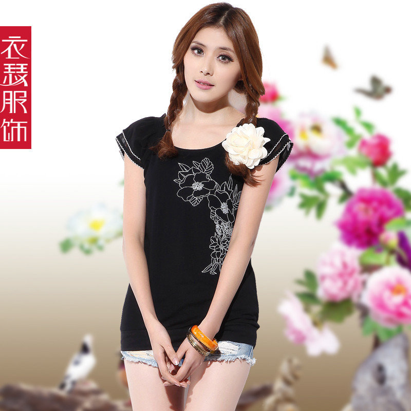 Free Shipping Summer women's 2013 100% cotton print ruffle sleeve short-sleeve t-shirt women's top plus size(China (Mainland))