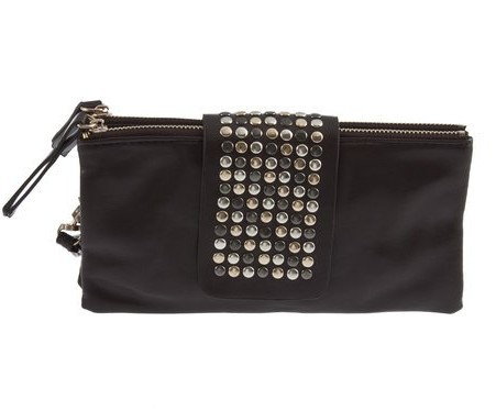 Simple Fashion PU Leather Handbag Rivet Lady Clutch Purse Wallet Evening Bag(China (Mainland))