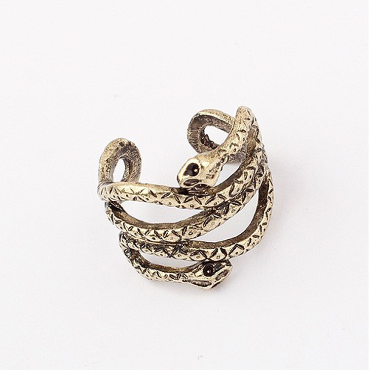 R053 punk style personalized ring wholesale Europe and the United States exaggerated retro snake opening ring(China (Mainland))