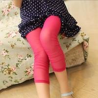 2013 summer female child candy elastic capris all-match gauze legging child