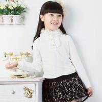 2013 spring female child long-sleeve T-shirt chiffon neckline all-match t-shirt girls basic shirt basic shirt