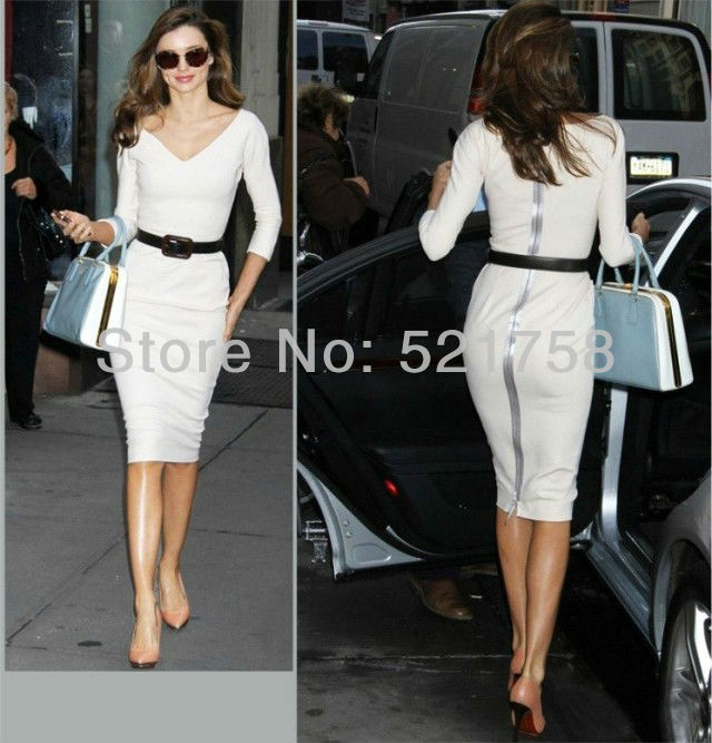 2013 fashion dress European and American style star of the same paragraph Victoria Beckhams white sexy package hip Slim Dress(China (Mainland))