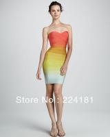 Knitted HL Bandage Dress rainbow colors HL bandage Party Evening Dress 2013 Summer Style Wholesale/ Retail