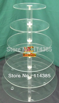 6 Tier Round Acrylic / Perspex Maypole Cupcake Stand, 6 Tier Wedding & Party Cake Stand, Acrylic Cake Display Stand