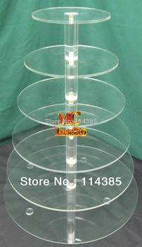 6 Tier Round Acrylic Wedding & Party Cake Stand, 6 Tier Plexiglass Cupcake Stand