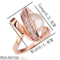 Wholesale Turkish Pearl Rings Caroline Fashion Ring 18K Rose Gold Plating High Quality Rhinestone Crystal Jewelry 18krgpr160