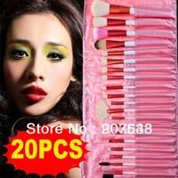 20 PCS Pink Professional Makeup Brush Set Cosmetic Brush + Pink Pouch Bag Free Shipping &Dropshipping