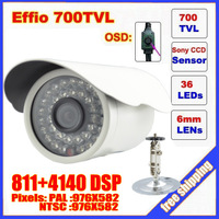 "Security 1/3"" Sony Effio CCD 700TVL OSD menu IR 36leds outdoor waterproof camera with Bracket . Free Shipping"