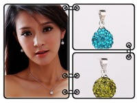 Min Order $8 Free shipping  10mm Shamballa Disco Pave Crystal Ball Pendant+ Necklace