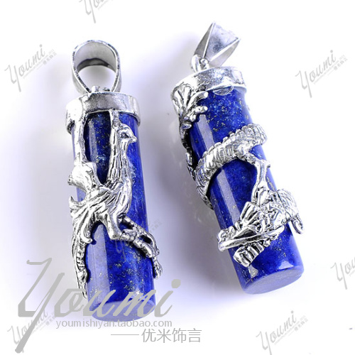 Natural lapis lazuli stone dragon column pendant charm nunatak inlaying accessories(China (Mainland))
