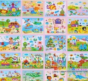 Hot free delivery children handmade EVA sticker,puzzle toys stereo DIY Unisex cute cartoon stickers 27*22cm 20pcs wholesale