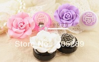 Free shipping New Fashion Cute Rose contact lenses box / Retro Rose contact lens case/ lens Companion box