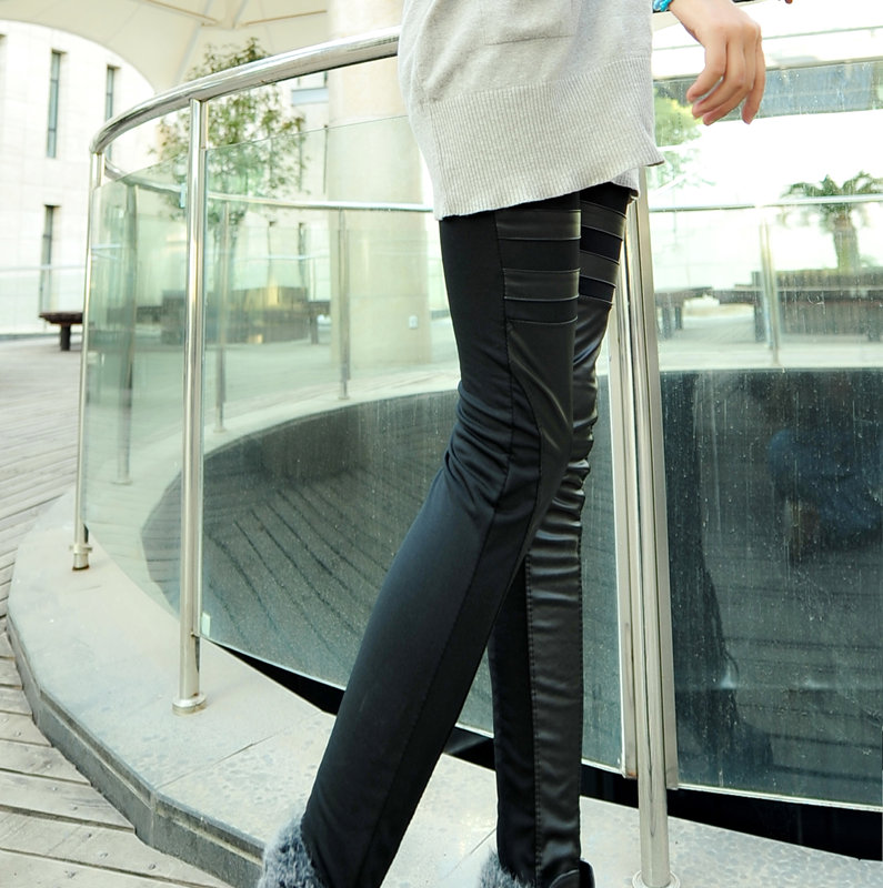 2012 faux leather legging irregular patchwork ankle length trousers women's pants(China (Mainland))
