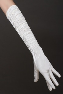 Bridal gloves long satin design pleated fingers gloves white winter wedding dress gloves(China (Mainland))
