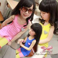 2013 female child summer candy color long design vest