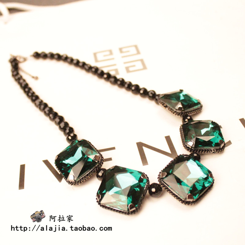 For nec klace female short design necklace gem fashion vintage black fashion accessories(China (Mainland))