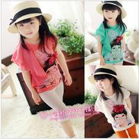 2013 female child summer asymmetrical 100% cotton girl pattern chiffon sleeve t-shirt