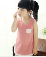2013 female child summer lace decoration stripe vest