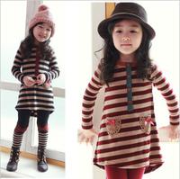 Spring medium-long stripe top bow legging female child 100% cotton set t3004