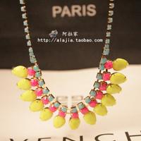 For nec  klace female short design fashion vintage fashion neon color drop necklace accessories wool