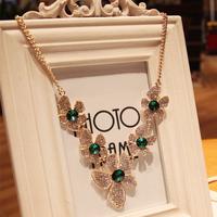 Accessories full rhinestone sparkling rhinestone flower necklace short design jewelry female
