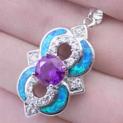 ZITAI JEWELRY NEW Wholesale retail FREE SHIPPING FASHION BRIDE AMETHYST BLUE FIRE OPAL 31CT 925 silver gemstone pendant HP0510(China (Mainland))