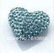 Free Shipping!! (100pcs/lot) 10x12mm high quality heart shape shamballa clay crystal beads