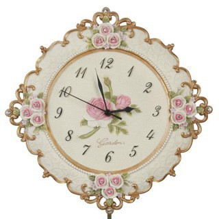 Fashion resin rustic wall clock fashion rose clock and watch(China (Mainland))