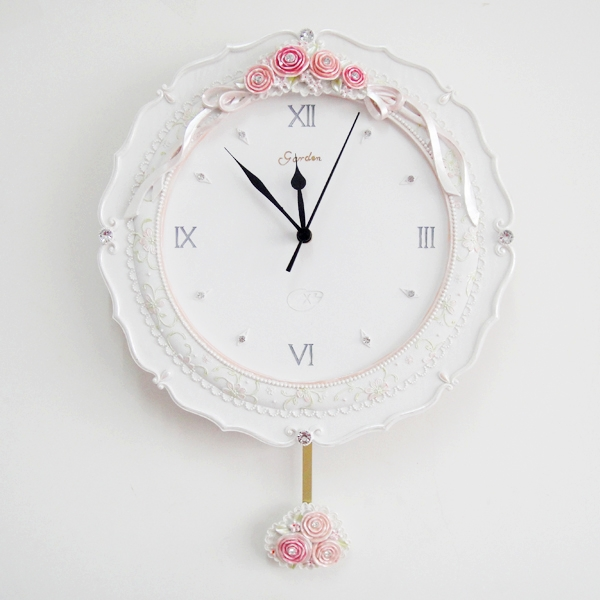 White wall clock rustic resin quartz clock wall quieten fashion pocket watch wall clock belt pendulum(China (Mainland))