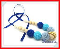 Handmade Crochet ball fade blue grey nursing Teething necklace knit ball necklace wooden NW1343