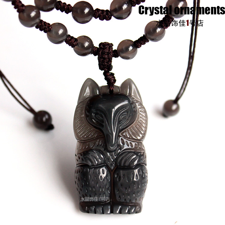 Crystal necklace natural ice species obsidian fox pendant male women's accessories anti lilliputian(China (Mainland))