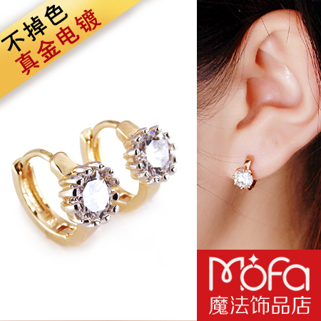 Fashion accessories earrings in ear female single zircon small hoop earrings pure silver 18k rose gold(China (Mainland))