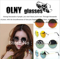 Free Shipping 2013  New Arrival Unisex Men Women Fashion  Round Sunglasses with colorful  mirror  glasses with box