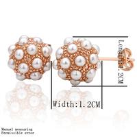Earring Good Luck ball shaped drop fashion Earrings,pearl and Austria crystal earrings,rose gold platedLKN18KRGPE014
