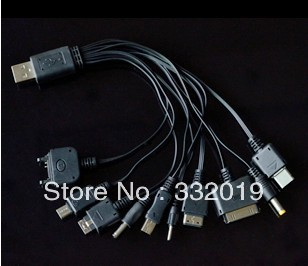 Free shipping Multi 10 in 1 Universal Multi-Function Cell Phone Game USB Charging Cable(China (Mainland))