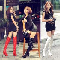 Fashion High-heeled Platform  White High-leg  Winter Knee-length Boot Steel Pipe Dance Boots